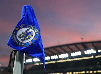 The Chelsea crest on a corner flag at Stamford Bridge.