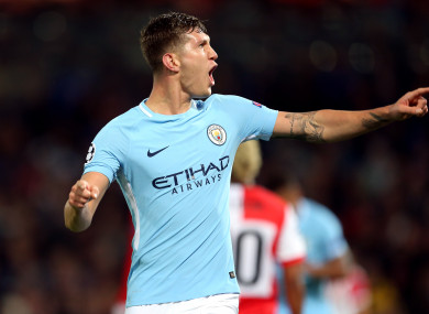 Manchester City's John Stones celebrates scoring his side's fourth goal of the game.