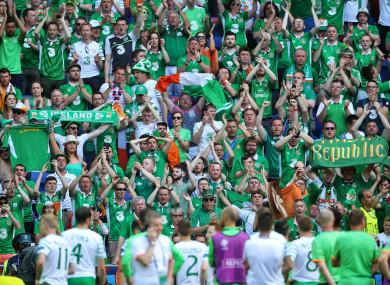 Ireland fans during Euro 2016.