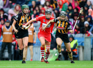 Cork's Gemma O'Connor battling for possession with Katie Power of Kilkenny during yesterday's All-Ireland final.