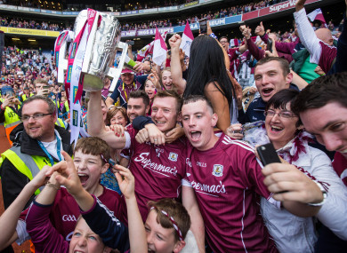Galway celebrate their victory in Croke Park.