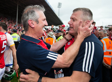 O'Sullivan celebrates with Kingston after the Munster hurling final.