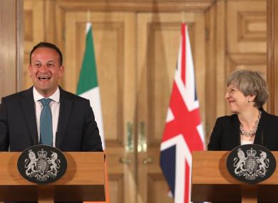 Taoiseach Leo Varadkar meeting Prime Minister Theresa May in Downing Street.