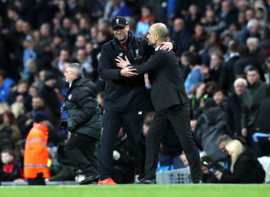 Old foes Klopp and Guardiola.