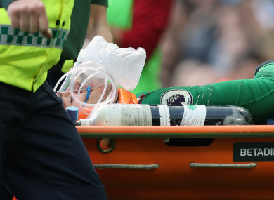 Man City goalkeeper Ederson is stretchered off.