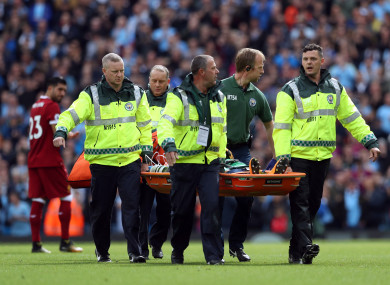 Manchester City goalkeeper Ederson is stretchered off during the Premier League match at the Etihad Stadium.