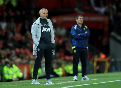 Mourinho on the touchline last night.