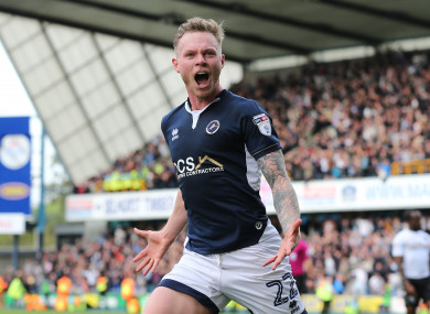 Millwall's Aiden O'Brien celebrates scoring his side's first goal of the game.