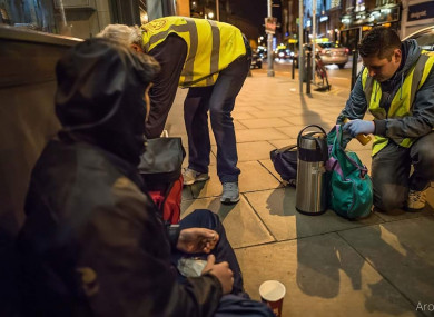 Inner City Helping Homeless conducting their rounds last night.