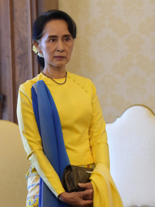 Aung San Suu Kyi during a visit to Rome in her role as foreign minister.