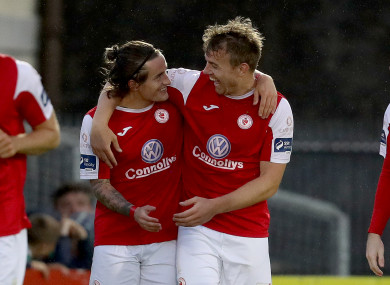 Sligo Rovers Rhys McCabe (left) and Vinny Faherty (right) both scored tonight (file pic).