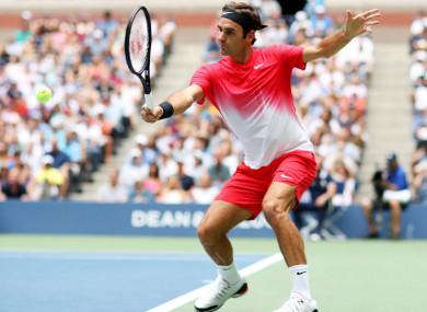 Roger Federer in action against Mikhail Youzhny in New York