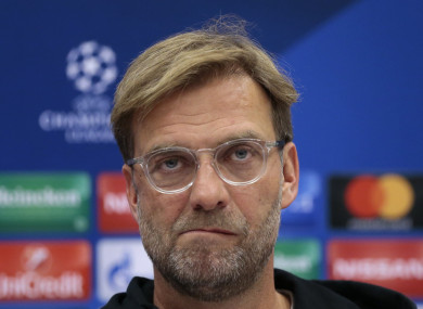 Klopp speaking to the media in Moscow.