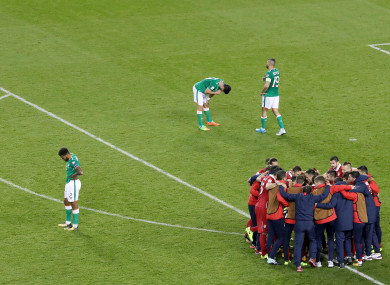 Agony and ecstasy: The scene at full-time.