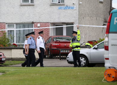 Gardaí at the scene of the shooting in Ballymun