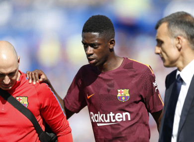 Dembele faces a period on the sidelines after sustaining a thigh injury.