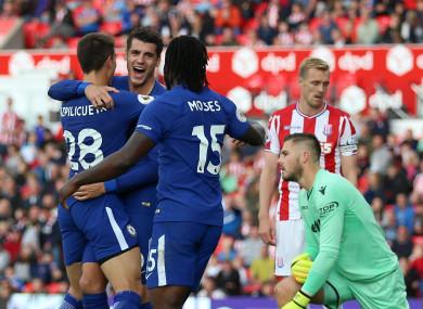 Alvaro Morata celebrates scoring Chelsea's fourth goal.