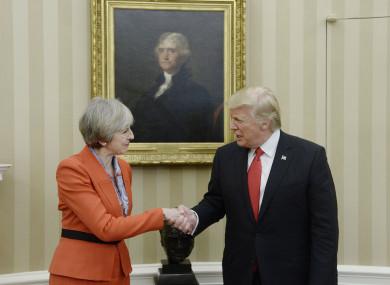 Teresa May and Trump at a previous meeting.
