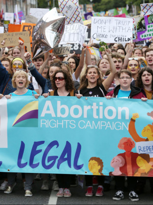 Protesters marching at the sixth annual March for Choice in Dublin last week