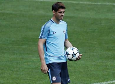 Alvaro Morata training for Chelsea.