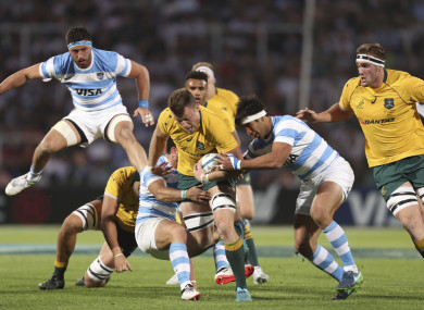 Bernard Foley is tackled by Argentina's Los Pumas Martin Landajo.