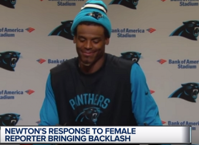 Cam Newton responding to a question from reporter Jourdan Rodrigue.