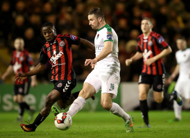 Bohemians midfielder Fuad Sule with Cork City's Gearoid Morrissey back in April.