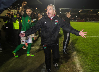 Cork City manager John Caulfield reacts at the final whistle after last night's game against Derry City.