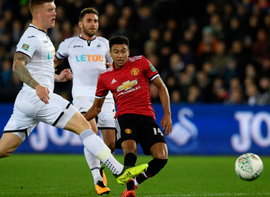 Jesse Lingard scores for Manchester United.