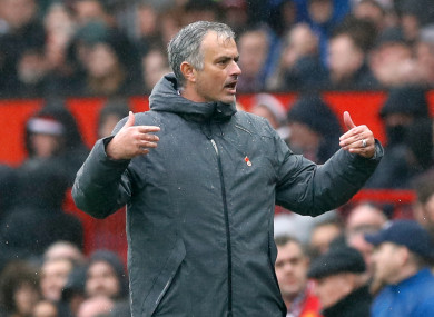Mourinho celebrates United's win at Old Trafford.
