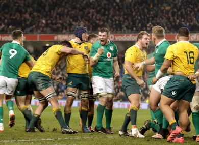 Ireland's Peter O'Mahony celebrates their win over the Wallabies in 2016.