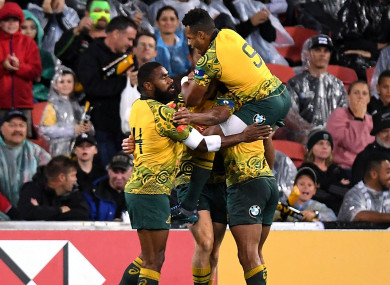 Australia celebrate Reece Hodge's try