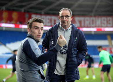 Coleman alongside O'Neill in Cardiff earlier this month.