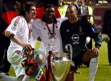 Kaladze with Clarence Seedorf and Dida after winning the Champions League in 2003.
