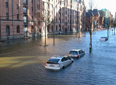 View of the flood in the Hafencity district in Hamburg