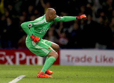 Watford goalkeeper Heurelho Gomes celebrates.