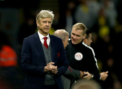 Arsenal manager Arsene Wenger appears dejected during the Premier League match at Vicarage Road.