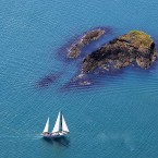 Yacht passing Eve Island