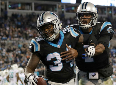 Cameron Artis-Payne (34) and Cam Newton
