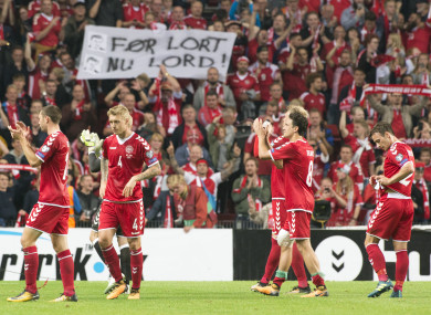 The Danish players celebrating their win over Poland in September.