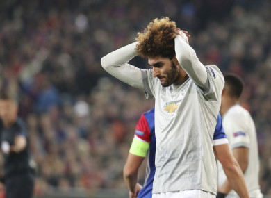 Man United's Marouane Fellaini shows his disappointment against Basel tonight.