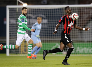 Akinade facing Shamrock Rovers in the red and black of Bohs.