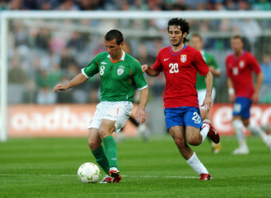 Liam Miller playing for Ireland against Serbia.