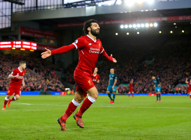 Liverpool's Mohamed Salah celebrates scoring his side's second goal.