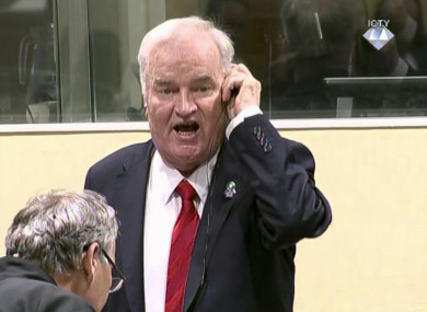 Ratko Mladic during an angry outburst in the Yugoslav War Crimes Tribunal today.