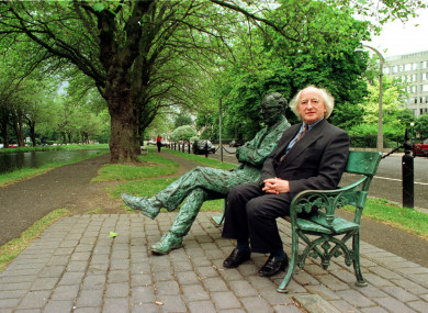 We are guessing that poet and President Michael D Higgins, seen here beside the Patrick Kavanagh statue in 1994, can recite a verse or two.