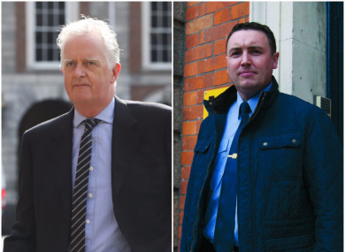 Mr Justice Peter Charleton (left) dismissed all of the claims made by Garda Keith Harrison (right) in a scathing report.