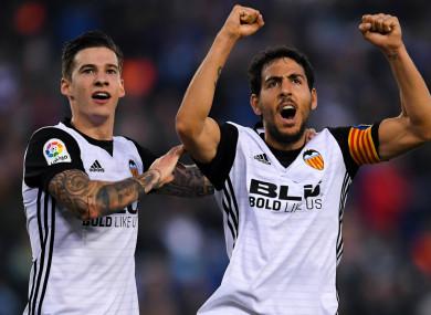 Santi Mina and Dani Parejo celebrate their side's win.