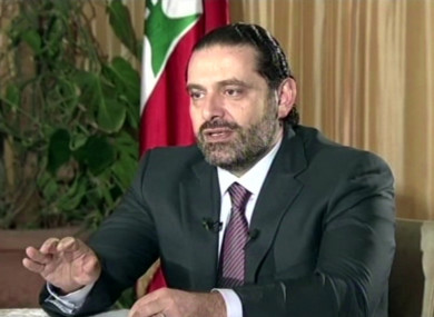 Lebanon's Prime Minister Saad Hariri giving an interview from Saudi Arabia.