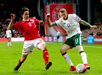 Ireland's James McClean and Thomas Delaney of Denmark.
